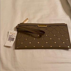 Michael Kors Jamey Leather Zip Clutch - Dark Taupe